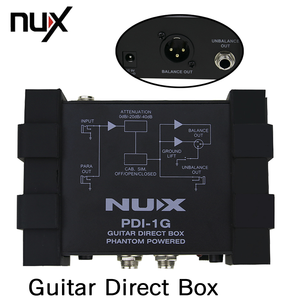 NUX Pro-Audio PDI-1G Guitar Direct Box Get Very Pure Instrument Signal To The Audio Mixer Para Out nux pmx 2 multi channel mini mixer 30