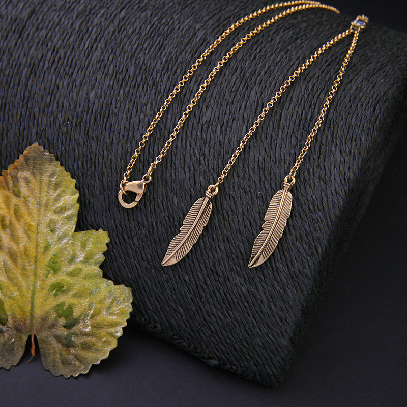 gold jewelry wholesale european necklace leaf number pendant gift product for long styles women leaves letter chain fashion