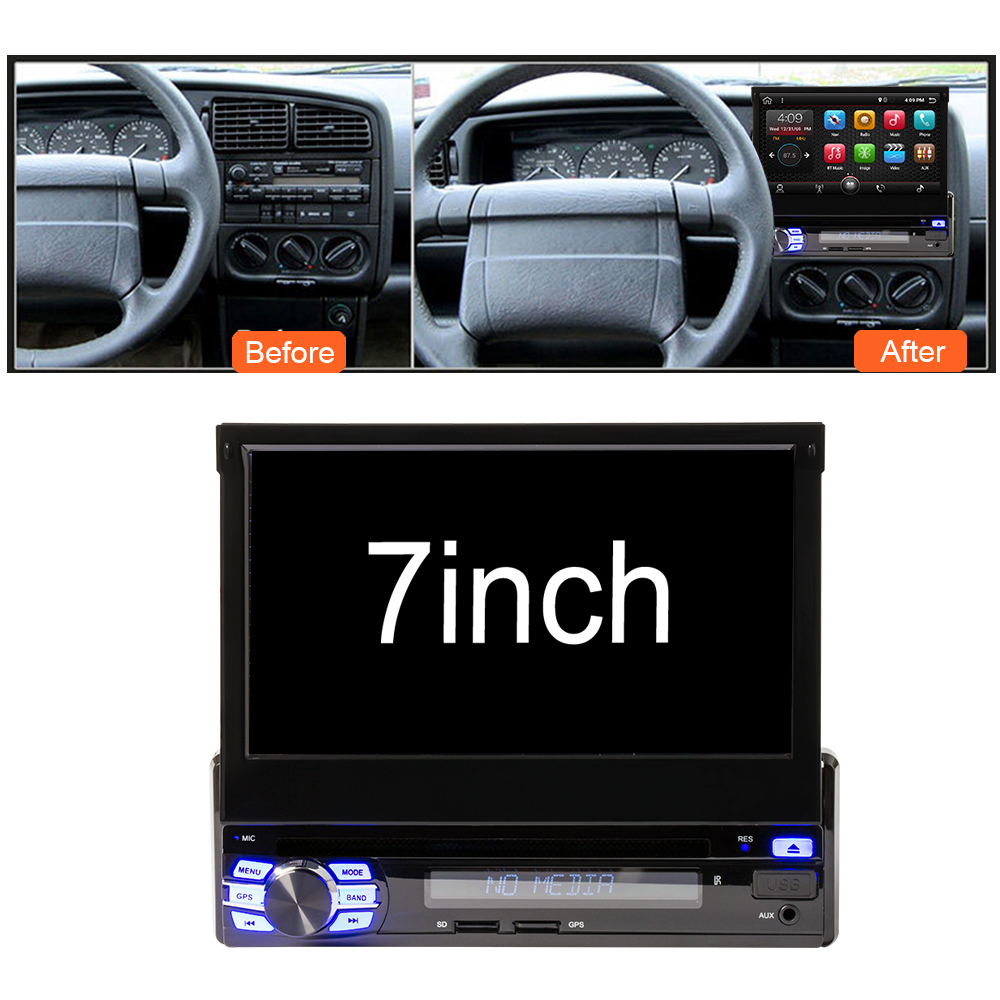 Eunavi 2G RAM Android 7.1 Universal Single 1 DIN 7 Car Radio Stereo Quad Core Head Unit Support Dual Zone Steering Wheel Came