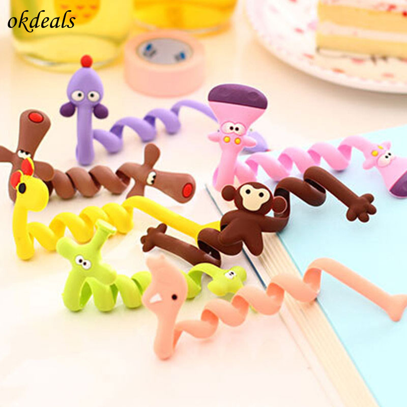 1Pc Cute Earphone Wire Cord Cable Winder Organizer Holder For Tablet MP3 MP4 PC Electric Cable winding thread Cable Winder 1pc brown leather headphone earphone cable tie cord organizer wrap winder holder