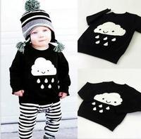 2017 boys baby dziewczyny sweter sweter odzież cartoon chmury raindrops rodzice dziecka dla dzieci odzież dla dzieci ciepłe swetry sweter