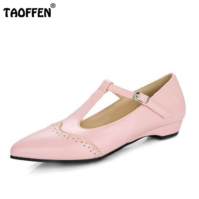 TAOFFEN Women T Strap Flats Shoes Women Solid Buckle Pointed Toe Shallow Flat Shoes Woman Daily Leisure Footwear Size 31-43 lankarin brand 2017 summer woman pointed toe flats ladies platform fashion rivet buckle strap flat shoes woman plus size