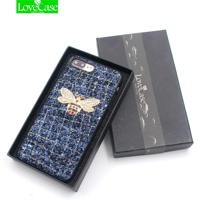 Lovecase para iPhone x 2018 moda todo incluido diseño GLEAM parpadeo teléfono celular cubierta para iPhone x 10 8 más caso de la contraportada