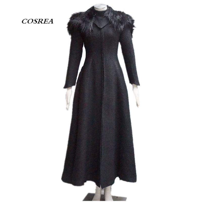 COSREA Game Of Thrones Queen Cersei Lannister Cosplay Costume Winter Black Long sleeve fur Shawl Halloween Costumes for Women