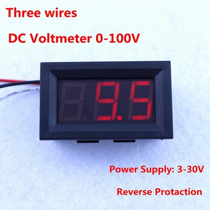 10pcs/lot DC 0-100V Red LED Display Digital Panel Volt Voltage Meter 100V DC Voltmeter free shipping dropshipping