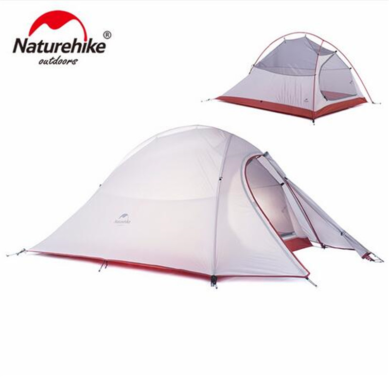 Naturehike Ultralight Camp Tents 2 Person With Footprint Tent 20D Silicone 210T Plaid Fabric Tent Double layer Camping Tent naturehike 1 person camping tent with mat 3 season 20d silicone 210t polyester fabric double layer outdoor rainproof camp tent