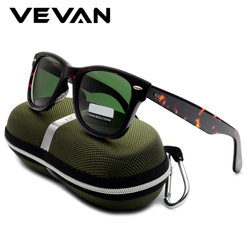 VEVAN Green Glass Lenses Luxury Sunglasses Women Brand designer Acetate Frame Sun glasses For women Multi Color Square Eyewear