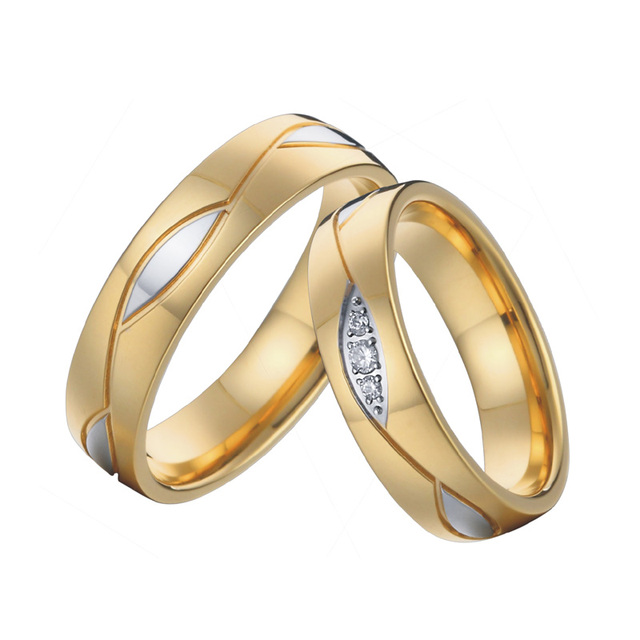 Mens Engagement Rings Anniversary Bridal Sets Vintage Gold Color Wedding Band For Women Men