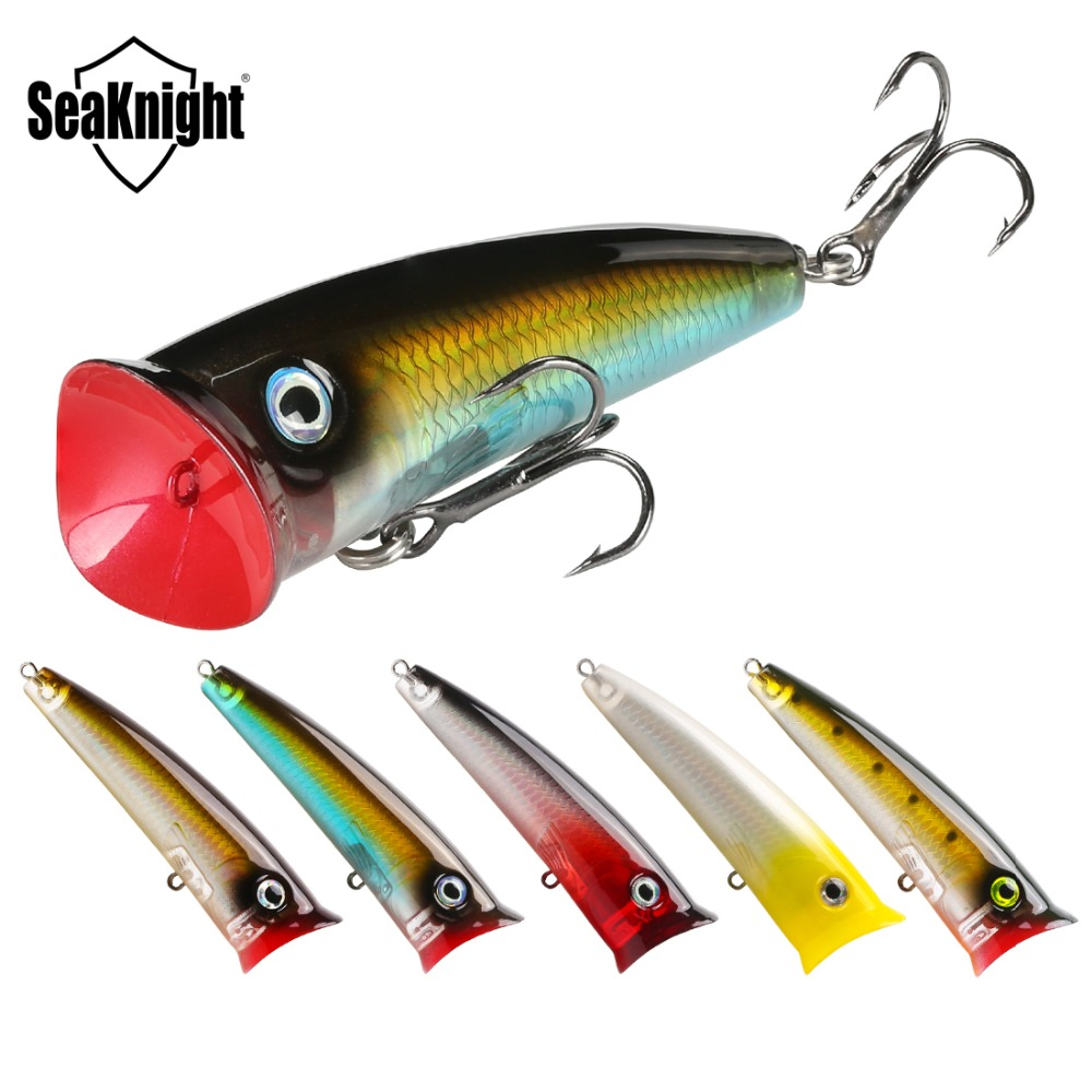 SeaKnight SK004 5PCS Popper Fishing Lure 70mm 11g Topwater Wobbler Floating Lure Artificial Bait for Long Casting Fishing Tackle
