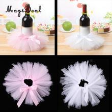 3 pçs tule garrafa de vinho tutu saia capa de garrafa mesa peça central decoração