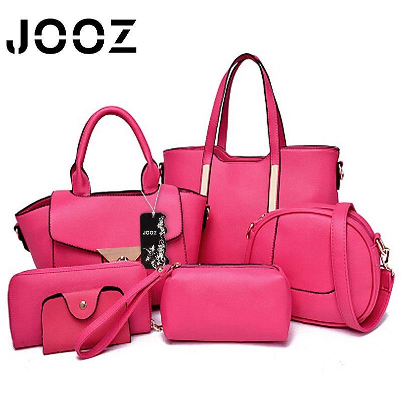 ФОТО JOOZ brand Luxury woman bag Lady Handbag 6 Pcs Composite bags Set Women Shoulder Crossbody Bags Purse Clutch