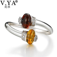 V YA Nature Style Yellow Stone Rings 925 Sterling Silver Open Ring Luxury Women Female Sterling