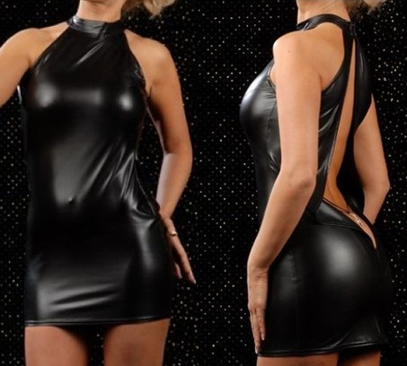 Buy ENGAYI Women Fashion Faux Leather Latex Backless Dress Lenceria Sexy Underwear sexy Costumes Porn erotic lingerie Nuisette A1003