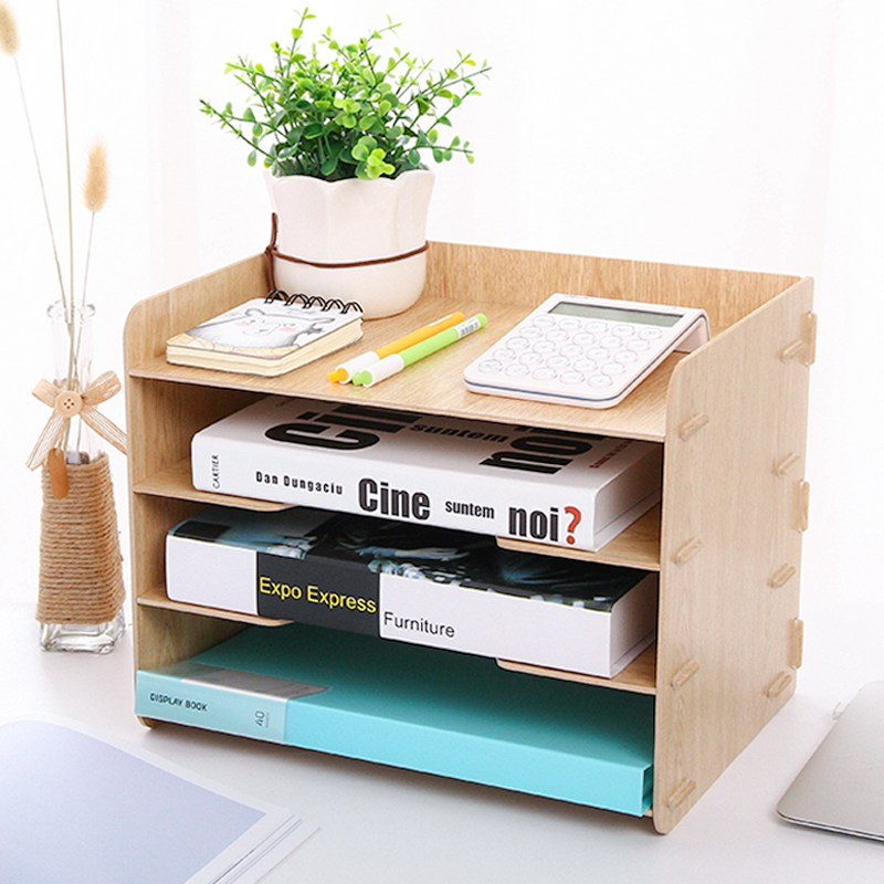 diy 5 layers acrylic file tray file document holders book holder bookend organizer office school supplies desk accessories Deli 3 Layers Wooden Desk File Tray Holders Desk Set Book Holder Organizer A4 Office School Supplies Desk Accessories