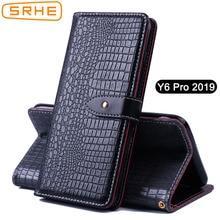 SRHE For Huawei Y6 Prime 2019 Case Cover Flip Leather Silicon Wallet Case For Huawei Y6 Pro Prime 2019 With Magnet Holder 609''
