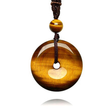 Drop Shipping Tiger Eye Stone Pendant Hand Carved Safety Button Necklace With Chain Lucky Amulet Fine Jewelry For Men Women Gift недорого