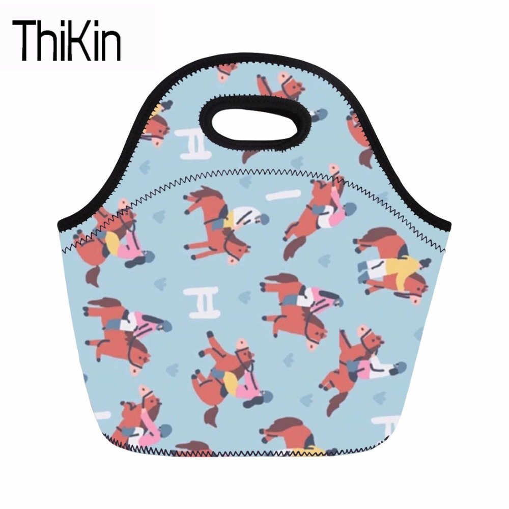 THIKIN Lunch Bag for Women Thermal Bag Horse Carton 3D Printing Lunchbags Kids Thermal Bag Lunch Box Food Picnic Bags 2018