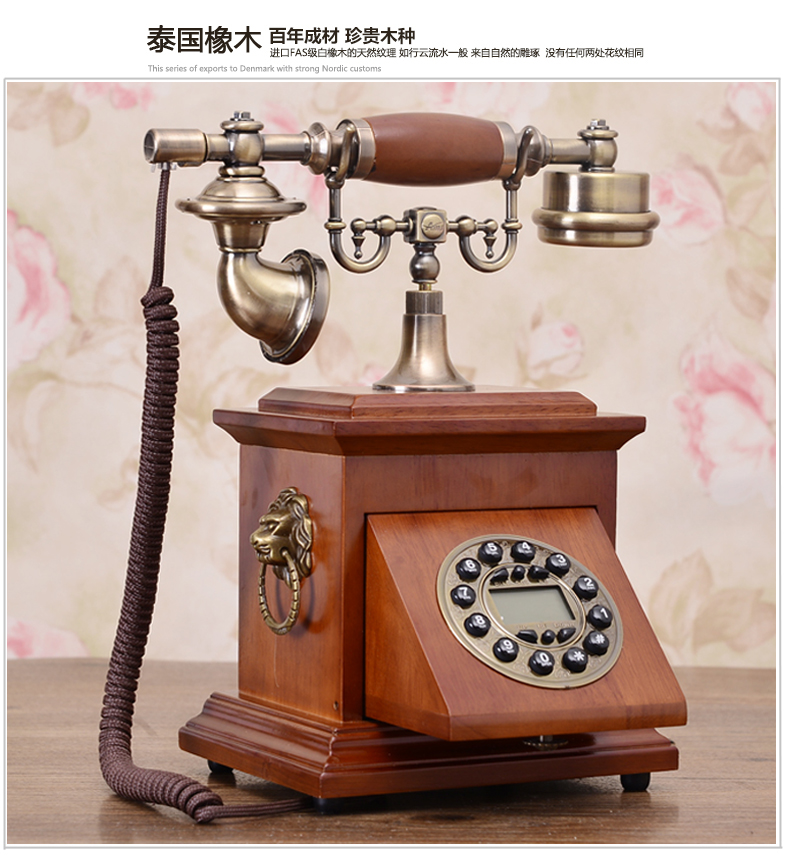 European telephone retro Antique landline Solid wood telephon Caller ID Hands free backlit