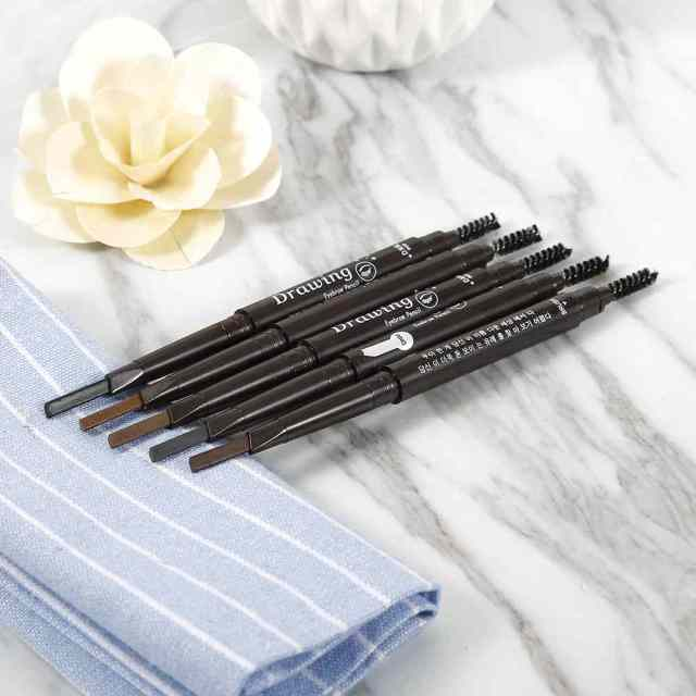 New 5 Colors Eyebrow Pencil Natural Waterproof Rotating Automatic Eyeliner Eye Brow Pencil with Brush Beauty Cosmetic Tool TSLM2 4