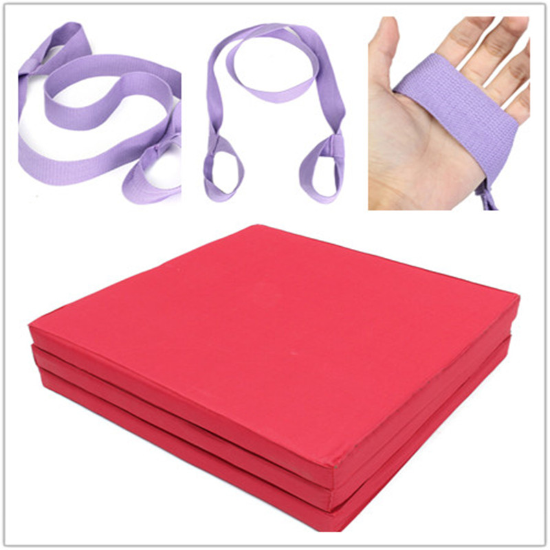 Folding Panel Gymnastics Mat Gym Exercise Yoga Mat Pad With Sling Strap Yoga Blanket For Outdoor Training Body Building gymnastics mat thick four folding panel fitness exercise 2 4mx1 2mx3cm
