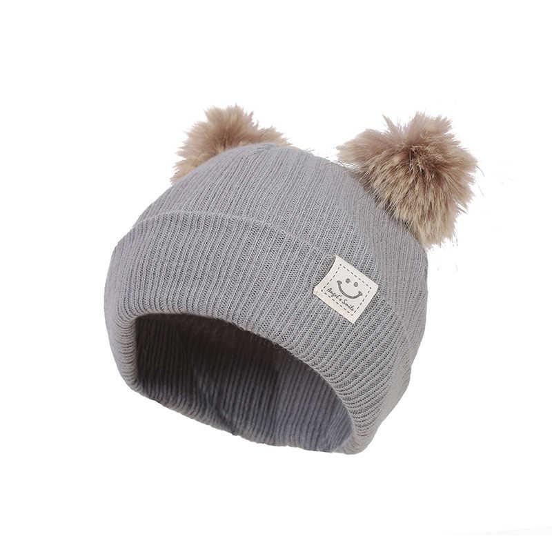 หมวกเด็กโครเชต์คู่ Pompom หมวกเด็กทารก Smile Faux Fur หมวกเด็กหมวกฤดูหนาวเด็กหมวกเด็กหมวก