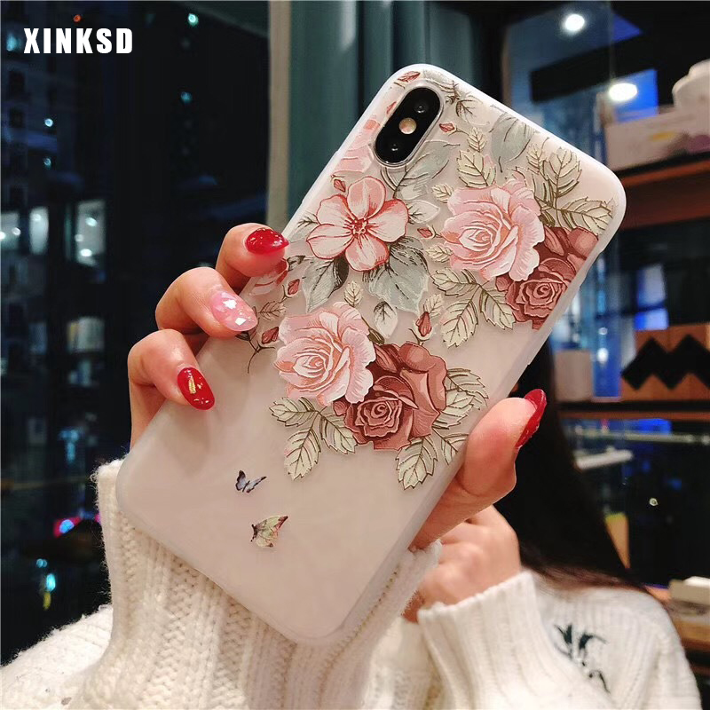 <font><b>3D</b></font> Flower silicone Phone Case for <font><b>Xiaomi</b></font> <font><b>Redmi</b></font> Note 7 4X 5 6 Pro 5A Prime <font><b>4A</b></font> 5 Plus S2 6A Mi 6 8 9 T Mix 2 2s A1 6X Note 3 Case image
