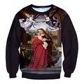 Новый 3D Печать Девы Марии Пуловеры Толстовка Красивый Парень Костюм Церкви Женщины Мужчины Свободные Верхняя Одежда Джемпер Кофты