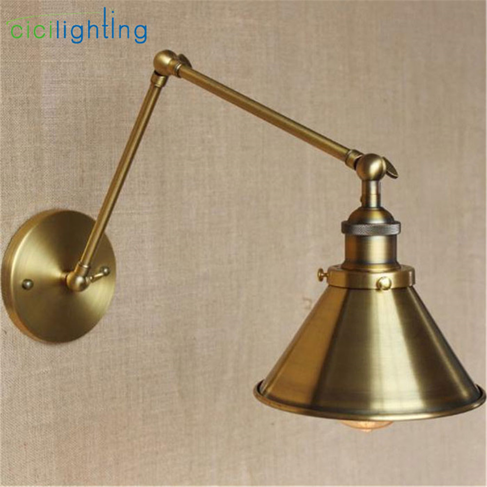 Style Decorative Wall Sconces Swing Arm Bedside Lamp Modern Brass Bronze plated Wall Light Fixtures metal lampshade