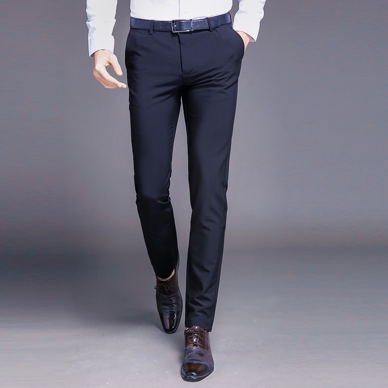 Winter Pants Men Slim Black Formal Pants For Men 2017 Full Length Straight Pockets Office Mens ...