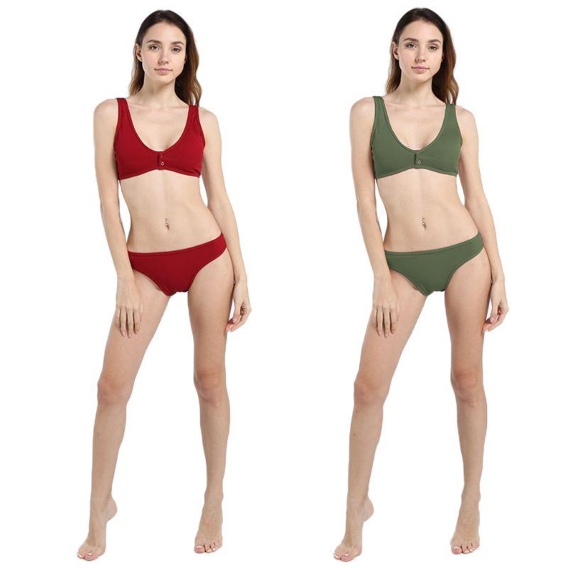Women Sexy Two Piece Bikini Set Deep Scoop Neck Low Cut Back Double Snap Button Closure Crop Top Solid Color Thread Vertical Str