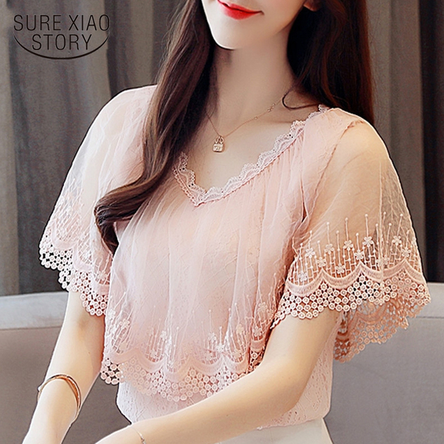 7058033d1cbebd Women Tops and Blouses Summer Lace Blouse Shirt Fashion Women Blouses New  2018 Short Sleeve Lace Top Blusa Feminina 0788 30