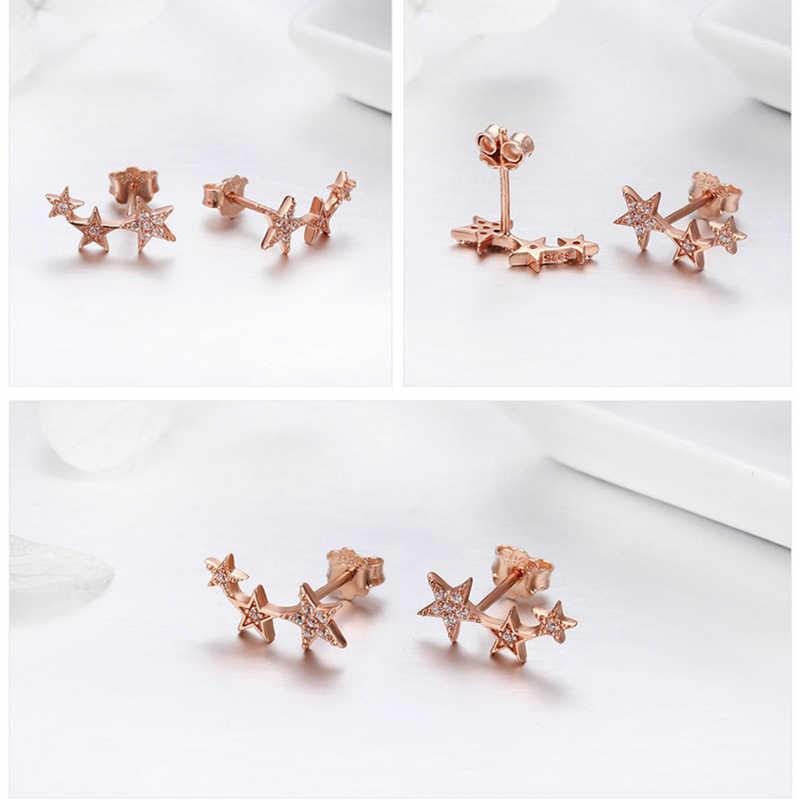 BAMOER подлинные 925 пробы серебряные CZ изысканные штабелируемые серьги-гвоздики в форме звезды для женщин ювелирные изделия подарок на день Святого Валентина SCE175