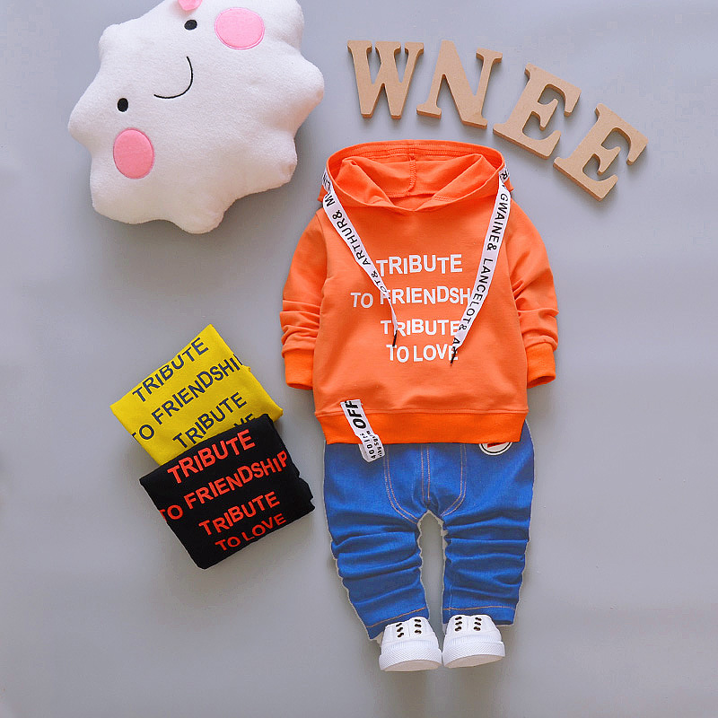 Autumn fashion Infant Clothes Baby Clothing Sets Baby boys Cotton Hooded Jacket + Jeans Pants 2Pcs Outfits Set Baby Clothes 2017 autumn velour hoodie long sleeve baby boys clothing sets 2pcs set jacket pants girls clothes outfits