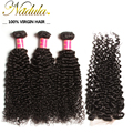 Peruvian Curly Virgin Hair With Closure 6A Nadula Hair Products 1PCS Lace Closure With 3pcs Peruvian virgin Hair Curly VIP014