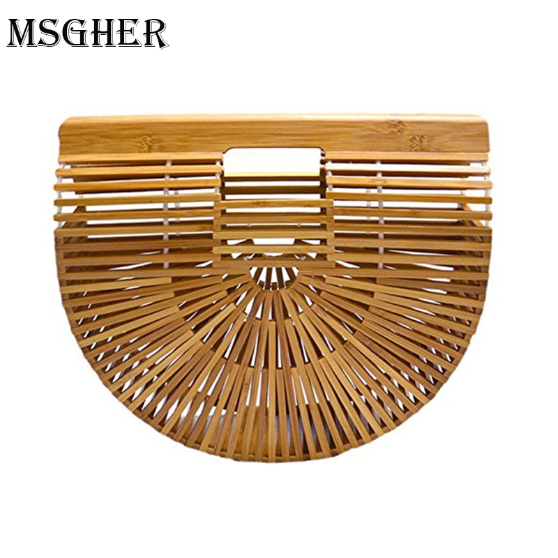 MSGHER Bamboo Round Bag Wooden Handbags Women Shopping Hollow Out Woven Beach Bags For Women Summer Luxury Designer Hand Bag charming faux turquoise round hollow out cuff bracelet for women