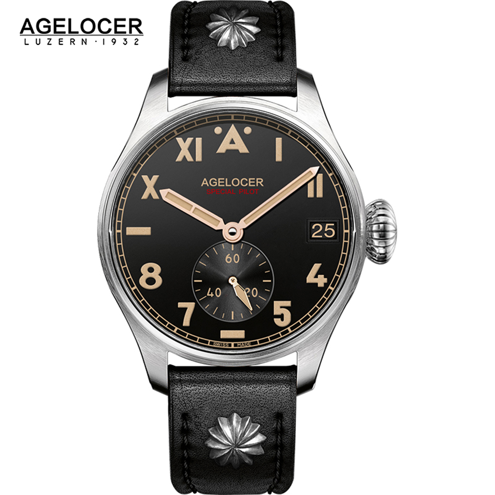 Original AGELOCER Brand Men Authentic Pilot Male Watch Costly Dive100M Auto Date Outdoor Men Shockproof Waterproof Watch brand new original authentic brs15b