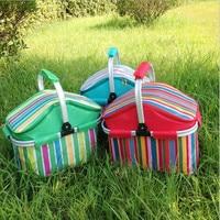 Outdoor picnic basket picnic bag ice pack insulation bag cooler box food basket, Handheld basket foldable picnic basket
