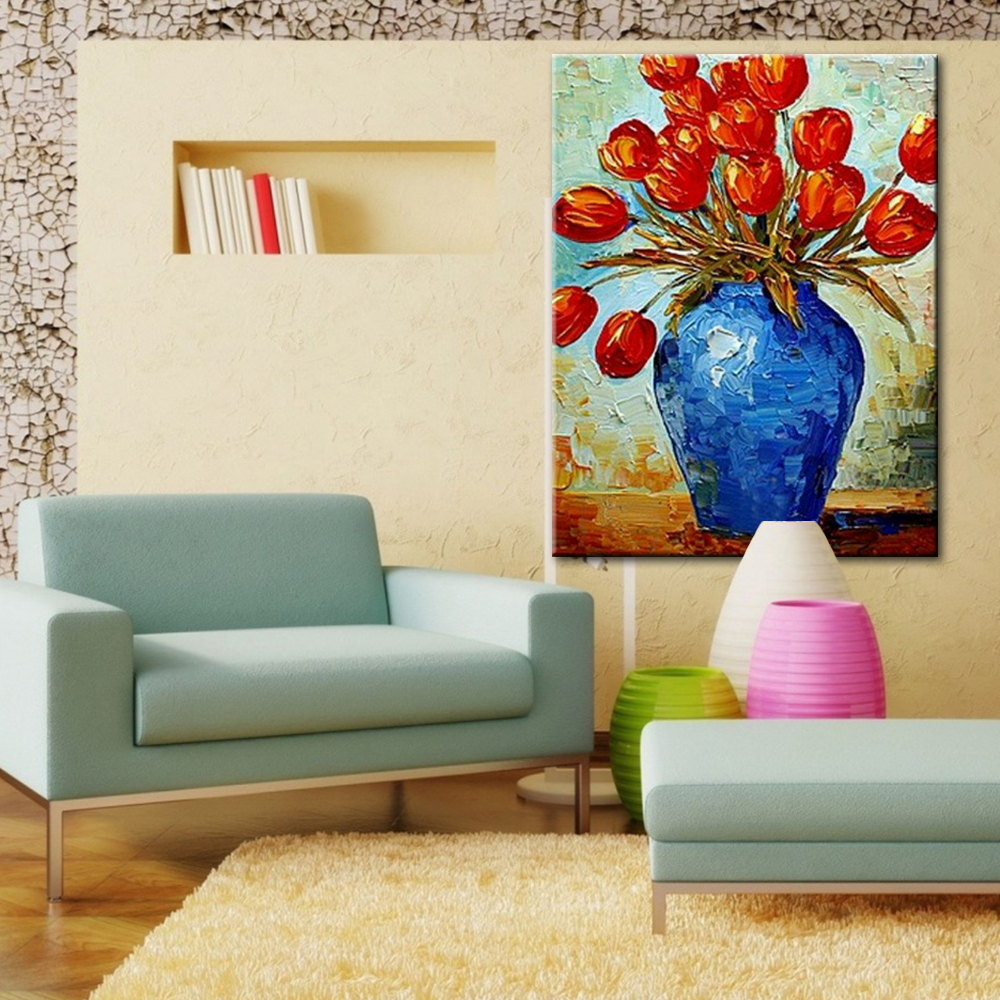 Paneles de pared Arte de la Lona Salón Flor Bodegón Florero Moderno ...