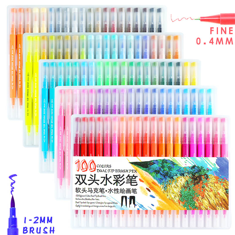 100 Color Art Markers Dual Tips Coloring Brush Fineliner Color Pens Water Marker For Calligraphy Drawing Sketching Coloring Book