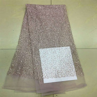 Handmade sequins and beaded American lace fabrics, white/pink/black for high end party evening wear HJ31 2