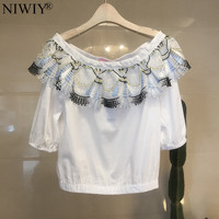 NIWIY Brand White Lace Shirt Womens Tops And Blouses Camisas Femininas 2017 Strapless Crop Top Summer
