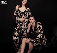 YT5 2017 Spring and Autumn Pajamas For Men Pyjamas Sexy Long Sleeve Faux Silk Sleepwear Couple Lover Night Gown