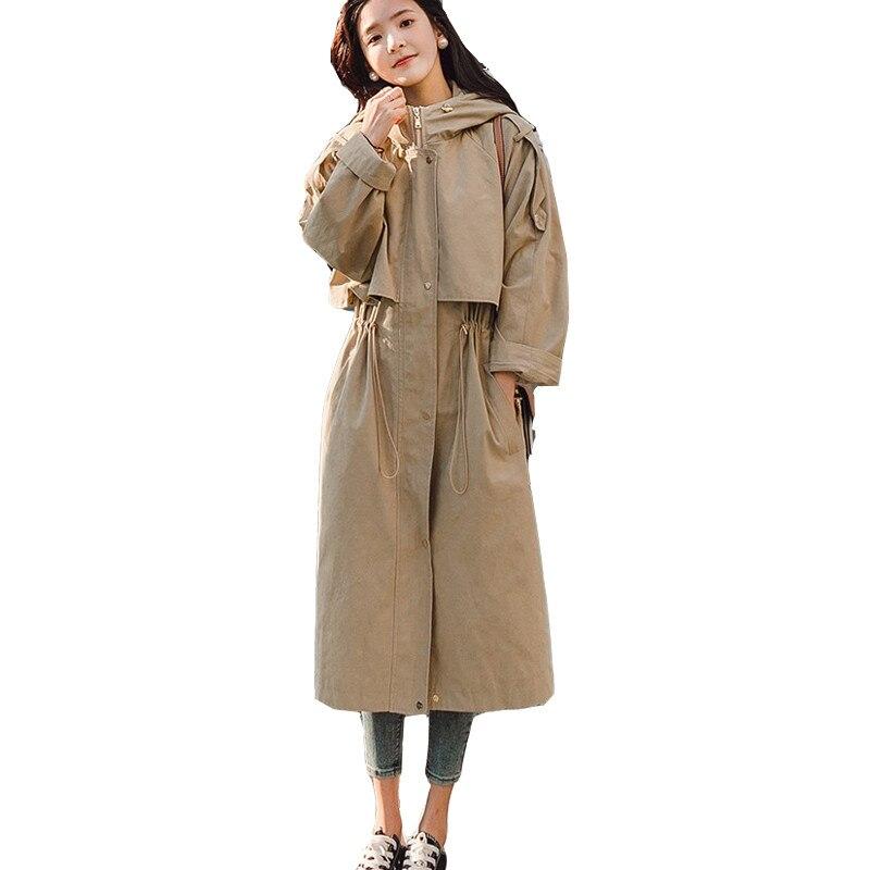 Oversize Women   Trench   Coat Plus Size XL Casual Coat Long Hoodie Windbreaker Solid Pockets Zipper Button Khaki Belt Slim Outwear