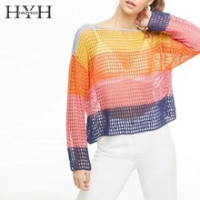 HYH Haoyihui Summer Fashion Sweet Tops Loose Comfortable Youth Stitching Color Hollow Out Striped Slash Neck Knitting Sweater