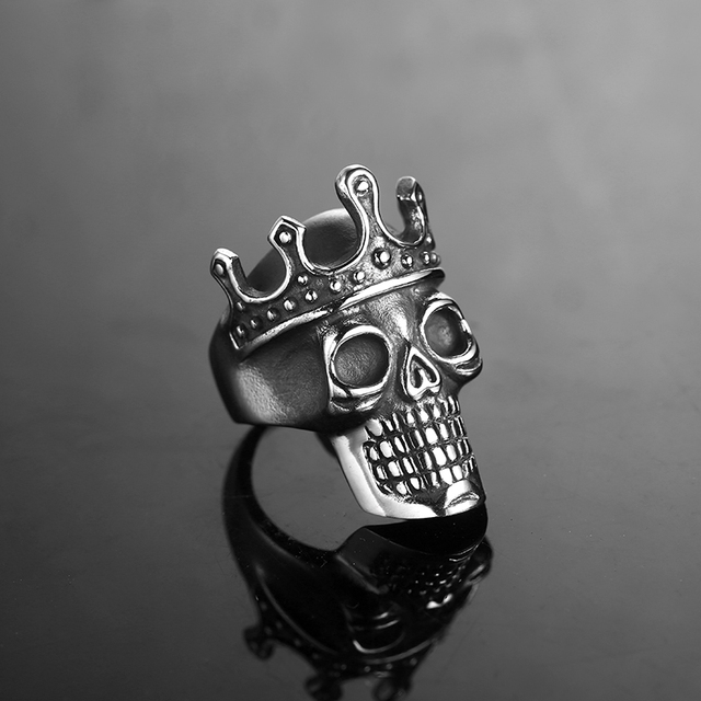 STAINLESS STEEL CROWN SKULL RINGS