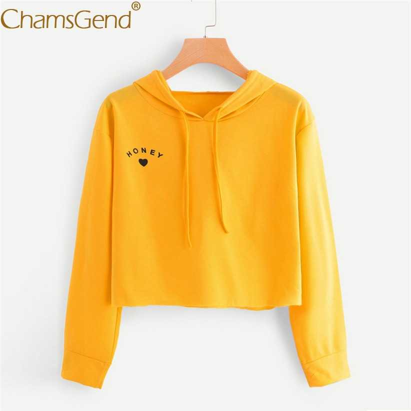 Women Girls Cropped Sweatshirts HONEY Heart Print Solid Hoody Sweatshirt Woman Long Sleeve Pullover Streetwear Teens Tops 90117