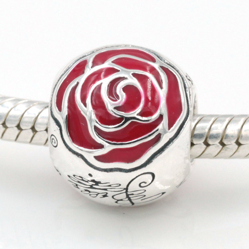 Original Belle Enchanted Rose Charm Fits Pandora Charms Bracelets 925 Sterling Silver Bead DIY Jewelry 2015 Spring