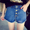 2017 Hot Sale Summer Wind Casual Female Blue High Waist Denim Shorts Women Worn Straight Burr Hole Jeans Shorts Plus Size