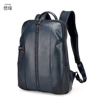 Xiyuan New Large Travel Backpack Teenagers School Book Bag Cowhide Genuine Leather Male Leisure Bag Men Laptop  Backpacks Blue