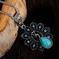 Antigüedad exquisita turquesa collar del pavo real colgante del encanto cristalino de la joyería For Women Sweater accesorios collar